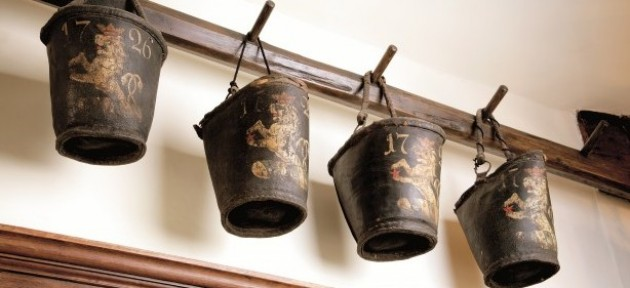 Early fire buckets at Chawton House Library