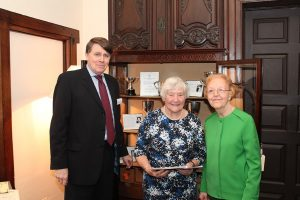 Development Director Keith Arscott with Baroness Williams and Pamela Birley from the Society of Women Writers and Journalists