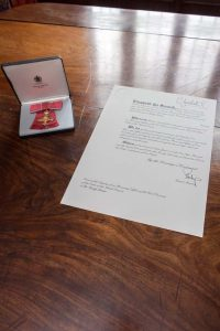 The Insignia and the Warrant presented to Dr Sandy Lerner