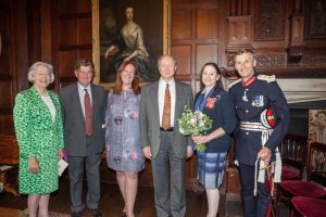 Trustees Mrs Gilly Drummond and Mr Richard Knight with Executive Director, Dr Gillian Dow, Trustees Mr Leonard Bosack, Dr Sandy Lerner and HM Lord-Lieutenant, Nigel Atkinson Esq